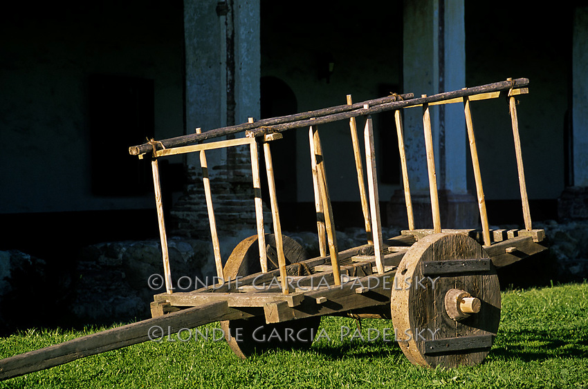 Replica wooden cart or carreta at Mission La Purisima Concepcion, the eleventh mission, founded on December 8, 1787 at Lompoc, California