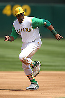 OAKLAND, CA - MAY 4:  Frank Thomas of the Oakland Athletics runs the bases during the game against the Texas Rangers at the McAfee Coliseum in Oakland, California on May 4, 2008. This was a turn back the clock day game that featured both teams wearing 1968 era uniforms. The Rangers wore Washington Senators uniforms. Photo by Brad Mangin