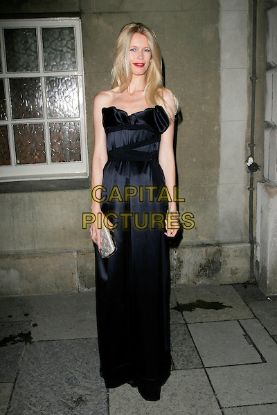 CLAUDIA SCHIFFER  .Chaos Point, in aid of NSPCC at the Banqueting House, London, England..November 18th, 2008 .half length blue strapless dress silver clutch bag.CAP/AH.©Adam Houghton/Capital Pictures.