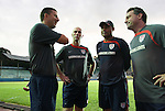 06 September 2008: U.S. head coach Bob Bradley (USA) (2nd from left) with assistant coach Mike Sorber (USA) (left), assistant coach Peter Nowak (POL) (right) and goalkeeper coach Zak Abdel (USA) (2nd from right). The United States Men's National Team defeated the Cuba Men's National Team 1-0 at Estadio Nacional de Futbol Pedro Marrero in Havana, Cuba in a CONCACAF semifinal round FIFA 2010 South Africa World Cup Qualifier.