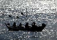 "Mindful of their heritage, a group of Chumash Indians have built a tomol -- the kind of canoe their ancestors paddled between the Channel Islands and the mainland. On Saturday, they paddled their Tomol, "" Eley'wun "", Chumash for 'Swordfish'. from Channel Islands harbor to Santa Cruz Island. Members of Chumash Maritime Association took turns paddling the 20+ miles from mainland to Santa Cruz Island for only the second time in 150 years. The first trip was in 2001."