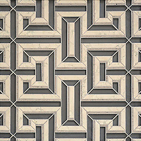 Theseus, a handmade mosaic shown in honed Warm Grey glass, honed Bianco Antico and honed Palomar. Designed by Sara Baldwin for New Ravenna.<br />