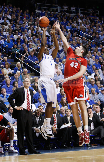 UK's Darius Miller shoots a three against Georgia at Rupp Arena on Friday, March 2, 2012. Photo by Scott Hannigan   Staff