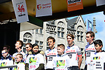 Team Arkea Samsic at the team presentation before the start of the 105th edition of Li&egrave;ge-Bastogne-Li&egrave;ge 2019, La Doyenne, running 256km from Liege to Liege, Belgium. 27th April 2019<br /> Picture: ASO/Gautier Demouveaux | Cyclefile<br /> All photos usage must carry mandatory copyright credit (&copy; Cyclefile | ASO/Gautier Demouveaux)