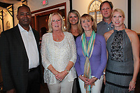 NWA Democrat-Gazette/CARIN SCHOPPMEYER Cedric Haulcy (from left); Harriette Habern, Horses for Healing founder; Heather Foster, Debbie Evans and Todd and Alyson Jacobs gather at the inaugural Poker & Ponies benefit Aug. 24 at Sassafras Springs Vineyard and Winery in Springdale.