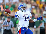 Kansas Jayhawks quarterback Michael Cummings (14) in action during the game between the Kansas Jayhawks and the Baylor Bears at the Floyd Casey Stadium in Waco, Texas. Baylor leads Kansas 20 to 14 at halftime....