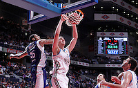 Real Madrid's Mirza Begic (r) and Mapooro Cantu's Jeff Brooks during Euroleague 2012/2013 match.November 1,2012. (ALTERPHOTOS/Acero) /NortePhoto