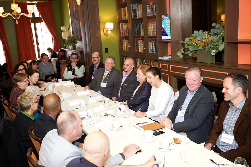 NEW YORK, NY - April 15, 2016: EPA Administrator Gina McCarthy meets with key actors in the food system to discuss the issue of food waste and what can be done to resolve it at the James Beard House.<br /> <br /> CREDIT: Clay Williams for the James Beard Foundation.<br /> <br /> &copy; Clay Williams / claywilliamsphoto.com