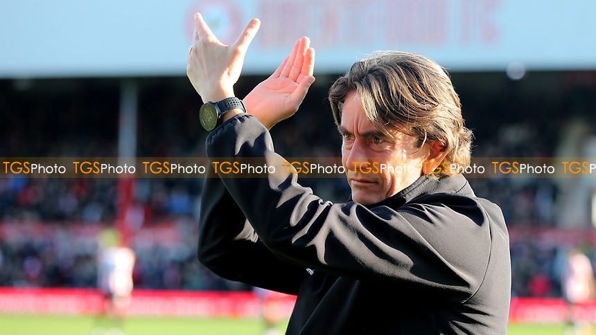 Brentford Head Coach, Thomas Frank applauds the home fans ahead of kick-off during Brentford vs Middlesbrough, Sky Bet EFL Championship Football at Griffin Park on 8th February 2020