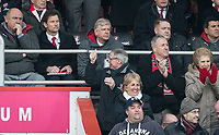 Bournemouth supporters celebrate taking the lead with one fan pointing at Arsenal Manager Arsene Wenger during the Premier League match between Bournemouth and Arsenal at the Goldsands Stadium, Bournemouth, England on 14 January 2018. Photo by Andy Rowland.