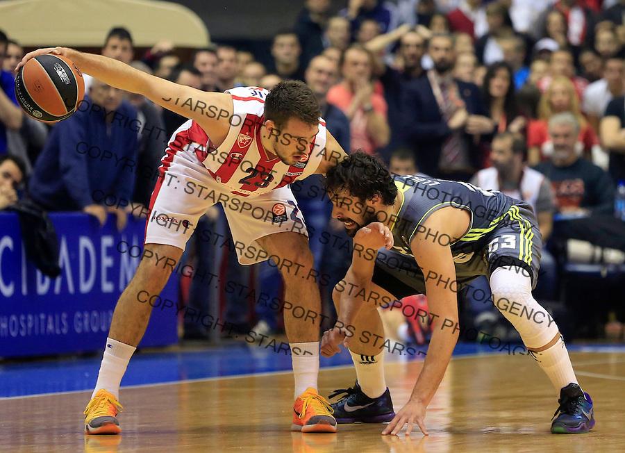 Kosarka Euroleague season 2015-2016<br /> Euroleague <br /> Crvena Zvezda v Real Madrid<br /> Marko Guduric and Sergio Llull (R)<br /> Beograd, 27.11.2015.<br /> foto: Srdjan Stevanovic/Starsportphoto &copy;