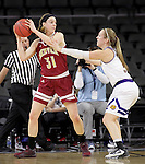 SIOUX FALLS, SD: MARCH 4: Jesse Spittel #31 of Denver shields the ball from Olivia Braun #3 of Western Illinois on March 4, 2017 during the Summit League Basketball Championship at the Denny Sanford Premier Center in Sioux Falls, SD. (Photo by Dick Carlson/Inertia)