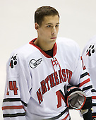 Drew Daniels (NU - 24) - The Northeastern University Huskies defeated the Bentley University Falcons 3-2 on Friday, October 16, 2009, at Matthews Arena in Boston, Massachusetts.