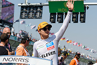 March 17, 2019: Lando Norris (GBR) #4 from the McLaren F1 team waves to the crowd during the drivers parade prior to the start of the 2019 Australian Formula One Grand Prix at Albert Park, Melbourne, Australia. Photo Sydney Low