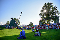The crowd grows around the 18th green as the late afternoon sun begins to set during Sunday's final round of the 72nd U.S. Women's Open Championship, at Trump National Golf Club, Bedminster, New Jersey. 7/16/2017.<br /> Picture: Golffile | Ken Murray<br /> <br /> <br /> All photo usage must carry mandatory copyright credit (&copy; Golffile | Ken Murray)