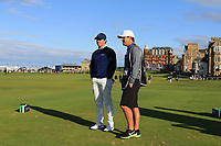 Rory McIlroy (NIR) and Harry Diamond (Caddy) on the 18th tee during Round 3 of the Alfred Dunhill Links Championship 2019 at St. Andrews Golf CLub, Fife, Scotland. 28/09/2019.<br /> Picture Thos Caffrey / Golffile.ie<br /> <br /> All photo usage must carry mandatory copyright credit (© Golffile | Thos Caffrey)