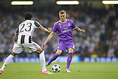 June 3rd 2017, National Stadium of Wales , Wales; UEFA Champions League Final, Juventus FC versus Real Madrid; Toni Kroos of Real Madrid in action as he is covered by Dany Alves
