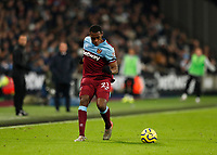 28th December 2019; London Stadium, London, England; English Premier League Football, West Ham United versus Leicester City; Issa Diop of West Ham United - Strictly Editorial Use Only. No use with unauthorized audio, video, data, fixture lists, club/league logos or 'live' services. Online in-match use limited to 120 images, no video emulation. No use in betting, games or single club/league/player publications