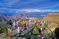 Crowds of tourist view Grand Canyon on summer day, Mather Point on South Rim of Grand Canyon National Park, Arizona, AGPix_0612.