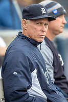 Detroit Tigers Hall of Famer Alan Trammell (3) in the dugout of the West Michigan Whitecaps on May 21, 2019 at Fifth Third Ballpark in Grand Rapids, Michigan. The Whitecaps defeated the Hot Rods 4-3.  (Andrew Woolley/Four Seam Images)