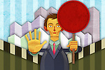 Illustrative image of businessman holding sign board while gesturing stop sign