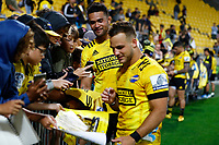 Vaea Fifita and Wes Goosen (right) of the Hurricanes during the Super Rugby match between the Hurricanes and the Cell C Sharks at Sky Stadium in Wellington, New Zealand on Saturday, 15 February 2020. Photo: Steve Haag / stevehaagsports.com