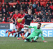 17th March 2018, Pittodrie Stadium, Aberdeen, Scotland; Scottish Premier League football, Aberdeen versus Dundee; Freddie Woodman of Aberdeen makes a great save to deny A-Jay Leitch-Smith of Dundee