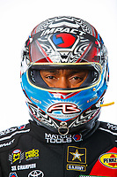 Feb 7, 2018; Pomona, CA, USA; NHRA top fuel driver Antron Brown poses for a portrait during media day at Auto Club Raceway at Pomona. Mandatory Credit: Mark J. Rebilas-USA TODAY Sports