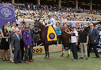 DEL MAR, CA - NOVEMBER 03: Battle of Midway #9, ridden by Flavien Prat stands in the winners circle on Day 1 of the 2017 Breeders' Cup World Championships at Del Mar Thoroughbred Club on November 3, 2017 in Del Mar, California. (Photo by Sue Kawczynski/Eclipse Sportswire/Breeders Cup)