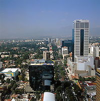 aerial view above Insurgentes Avenue Mexico City