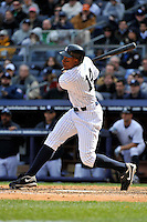 Apr 03, 2011; Bronx, NY, USA; New York Yankees outfielder Curtis Granderson (14) during game against the Detroit Tigers at Yankee Stadium. Tigers defeated the Yankees 10-7. Mandatory Credit: Tomasso De Rosa
