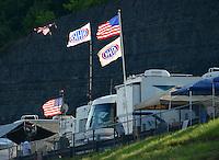 Jun. 15, 2012; Bristol, TN, USA: NHRA some fans fishing for some action during qualifying for the Thunder Valley Nationals at Bristol Dragway. Mandatory Credit: Mark J. Rebilas-