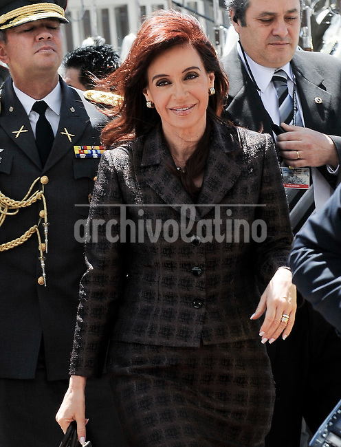 Argentina's President Cristina Fernandez de Kirchner arrives at the National Assembly in Quito to attend  the UNASUR Presidential Meeting after  the swear in ceremony of Ecuador's President Rafael Correa second term.