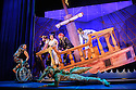 London, UK. 08.12.2015. Mischief Theatre Company presents PETER PAN GOES WRONG, at the Apollo Theatre. Co-written by Henry Lewis, Jonathan Sayer & Henry Shields, directed by Adam Meggido. Picture shows:  Ellie Morris (Tootles), Chris Leask (Stage Manager), Henry Shields (Captain Hook), Henry Lewis (Starkey), Charlie Russell (Wendy Darling), Tom Edden (Cecco the Pirate), Jonathan Sayer (John Darling). Photograph © Jane Hobson.