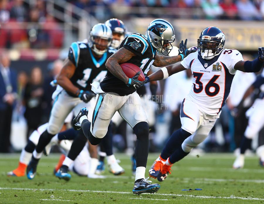 Feb 7, 2016; Santa Clara, CA, USA; Carolina Panthers wide receiver Ted Ginn Jr. (19) is tackled by Denver Broncos cornerback Kayvon Webster (36) in Super Bowl 50 at Levi's Stadium. Mandatory Credit: Mark J. Rebilas-USA TODAY Sports