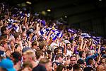 11.08.2019, Stadion an der Bremer Brücke, Osnabrück, GER, DFB Pokal, 1. Hauptrunde, VfL Osnabrueck vs RB Leipzig, DFB REGULATIONS PROHIBIT ANY USE OF PHOTOGRAPHS AS IMAGE SEQUENCES AND/OR QUASI-VIDEO<br /> <br /> im Bild | picture shows:<br /> Fans des VfL feiern den Anschlusstreffer, <br /> <br /> Foto © nordphoto / Rauch