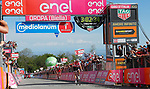 Race leader Maglia Rosa Tom Dumoulin (NED) Team Sunweb rides away from Ilnur Zakarin (RUS) Team Katusha Alpecin and Mikel Landa Meana (ESP) Team Sky to win Stage 14 of the 100th edition of the Giro d'Italia 2017, running 131km from Castellania to Oropa, Italy. 20th May 2017.<br /> Picture: LaPresse/Simone Spada | Cyclefile<br /> <br /> <br /> All photos usage must carry mandatory copyright credit (&copy; Cyclefile | LaPresse/Simone Spada)