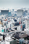 Tokyo, June 25 2013 - View over the city and motorways interchange in the Nihonbashi area.