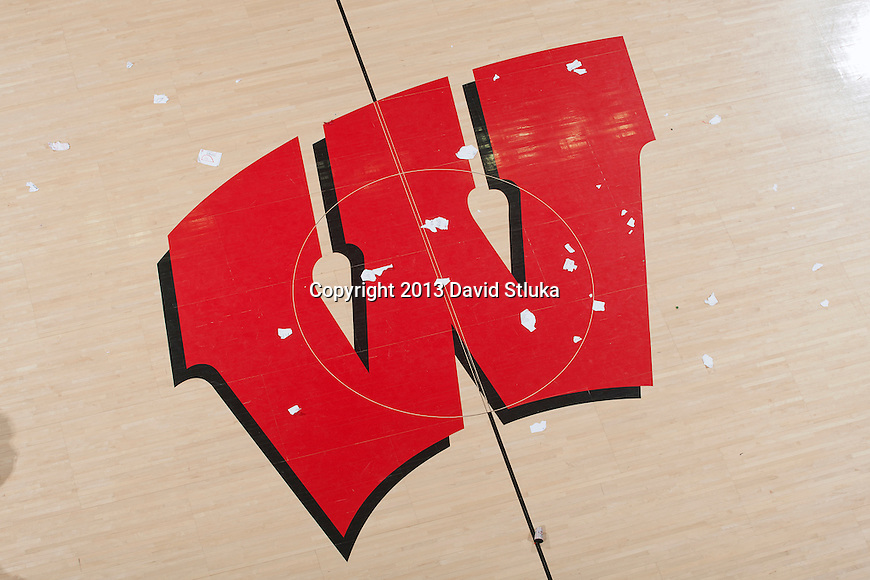 An overhead view of the floor after the Wisconsin Badgers fans rushed the floor during a Big Ten Conference NCAA college basketball game against the Michigan Wolverines Saturday, February 9, 2013, in Madison, Wis. The Badgers won 65-62 (OT) (Photo by David Stluka)