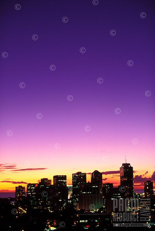 Downtown city lights at sunset, Honolulu, Oahu