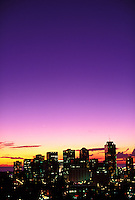 Downtown city lights at sunset, Honolulu, Oahu