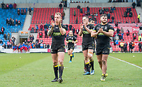 Picture by Allan McKenzie/SWpix.com - 07/04/2018 - Rugby League - Betfred Super League - Salford Red Devils v Warrington Wolves - AJ Bell Stadium, Salford, England - Warrington's Kevin Brown, Ben Currie & Joe Philbin thank the fans for their support after victory over Salford.