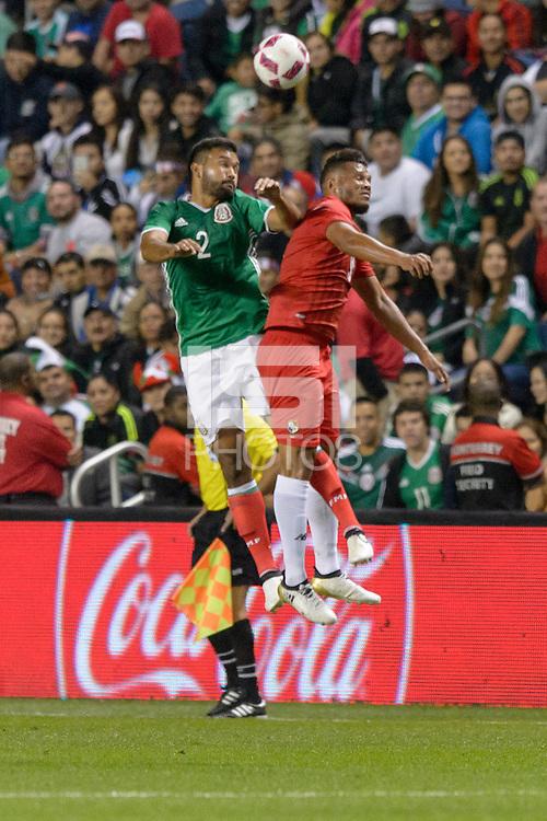 Bridgeview, IL, USA - Tuesday, October 11, 2016: Mexico defender Hedgardo Marín (2) and Panama forward Rolando Blackburn (9) during an international friendly soccer match between Mexico and Panama at Toyota Park. Mexico won 1-0.