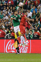 Bridgeview, IL, USA - Tuesday, October 11, 2016: Mexico defender Hedgardo Marín (2) and Panama forward Rolando Blackburn (9) during an international friendly soccer match between Mexico and Panama at Toyota Park. Mexico won 1-0.