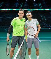 Februari 13, 2015, Netherlands, Rotterdam, Ahoy, ABN AMRO World Tennis Tournament, Sergiy Stakhovsky (UKR) - Milos Raonic (CAN)<br /> Photo: Tennisimages/Henk Koster