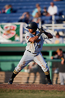 West Virginia Black Bears left fielder Edison Lantigua (18) at bat during a game against the Batavia Muckdogs on June 20, 2018 at Dwyer Stadium in Batavia, New York.  West Virginia defeated Batavia 4-3.  (Mike Janes/Four Seam Images)