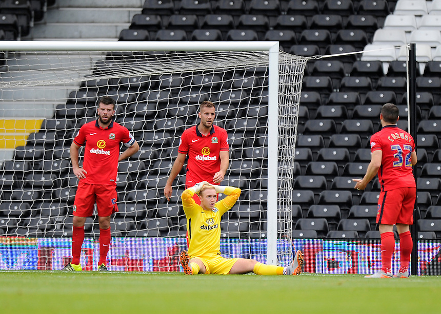 Blackburn Rovers' Jason Steele dejected as they concede a 2nd goal to Fulham's Moussa Dembele<br /> <br /> Photographer Ashley Western/CameraSport<br /> <br /> Football - The Football League Sky Bet Championship - Fulham v Blackburn Rovers - Sunday 13th September 2015 - Craven Cottage<br /> <br /> &copy; CameraSport - 43 Linden Ave. Countesthorpe. Leicester. England. LE8 5PG - Tel: +44 (0) 116 277 4147 - admin@camerasport.com - www.camerasport.com