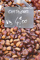 On a street market. Chestnuts. Bordeaux city, Aquitaine, Gironde, France