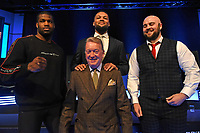 Daniel Dubois (L), Frank Warren, Joe Joyce and Nathan Gorman during a Press Conference at the BT Studio on 9th May 2019