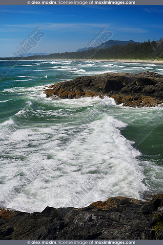 Green Point beach with big tidal waves crashing against the rocks at Pacific Rim National Park Reserve, Long Beach, Tofino, Vancouver Island, BC, Canada Image © MaximImages, License at https://www.maximimages.com